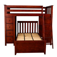 All-in-One Twin-over-Twin Loft Bed with Dresser & Desk (Assorted Colors)