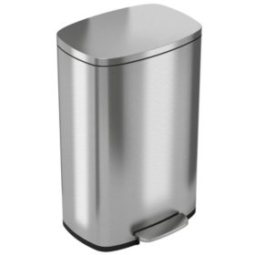 iTouchless SoftStep Stainless Steel Step Trash Can - 13 Gallon
