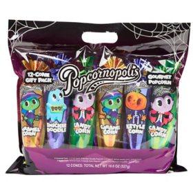 Popcornopolis Halloween 12-Cone Popcorn Gift Pack (18.6 oz.)