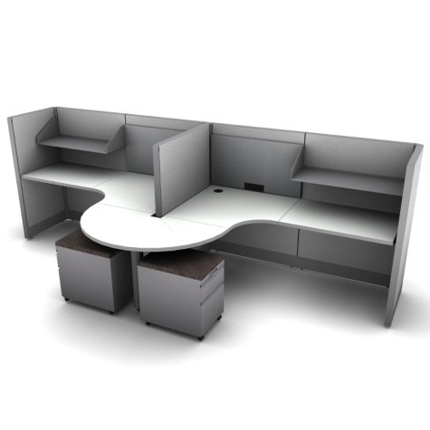 SNAP!Office - 2-Person Task Workstation - Concrete Chic Color Combo