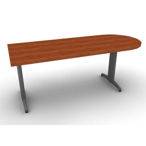 "SNAP!Office Peninsula ""D"" Desk - Aluminum Gray & Blossom Cherrywood Top"