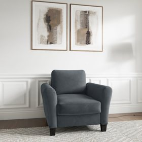 Denver Teardrop-Arm Chair, Grey