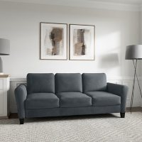 Denver Teardrop-Arm Sofa, Grey