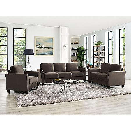 Denver Flared-Arm 3-Piece Living Room Set, Brown