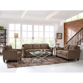 Harris Teardrop-Arm 3-Piece Living Room Set, Brown