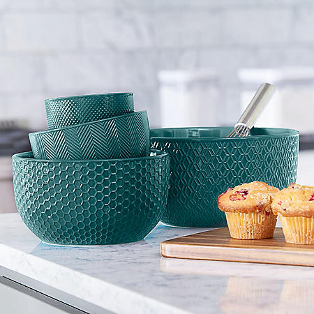4-Piece Textured Mixing Bowl Set (Assorted Colors)
