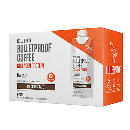 Bulletproof Coffee Cold Brew with Collagen Protein, Dark Chocolate (11.1 fl. oz., 8 pk.)