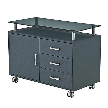 Techni Mobili Rolling Storage Cabinet with Frosted Glass Top, Graphite