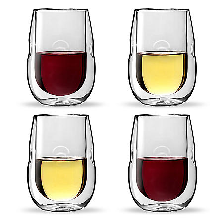 Moderna Artisan Series Double Wall Insulated Wine Glasses, Set of 4 Wine and Beverage Glasses