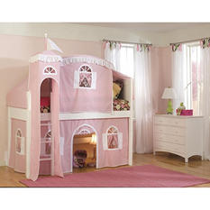 Cottage Playhouse Tent Twin Loft Bed with Princess Tower, White
