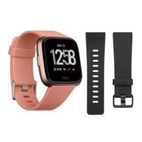 Fitbit Versa Smartwatch (Peach) with Bonus Black Accessory Band