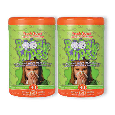 Boogie Wipes Saline Nose Wipes, Fresh Scent (180 ct.)