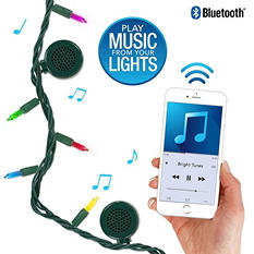Bright Tunes Indoor/Outdoor Multii Incandescent String Lights with Bluetooth Speakers (Green Cord)