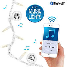 Bright Tunes Indoor/Outdoor White Incandescent String Lights with Bluetooth Speakers (White Cord)