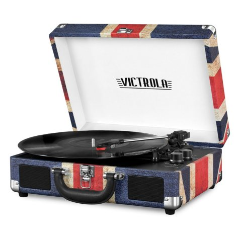 Portable Victrola Suitcase Record Player with Bluetooth and 3-Speed Turntable UK Print
