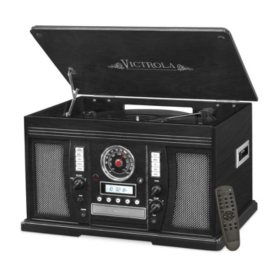 Victrola Wood 7-in-1 Nostalgic Bluetooth Record Player with CD Encoding and 3-speed Turntable - Various Colors