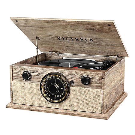 Victrola 4-in-1 Cambridge Farmhouse Modern Bluetooth® Turntable with FM Radio, Farmhouse Oatmeal
