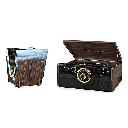 Victrola 6-in-1 Wood Bluetooth Mid Century Record Player with 3-Speed Turntable, CD, Cassette Player and Radio with Matching Stand and Replacement Needles