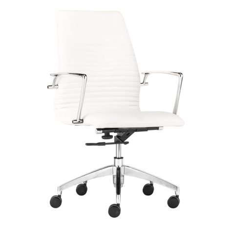 Lyons Low-Back Leatherette Office Chair, White