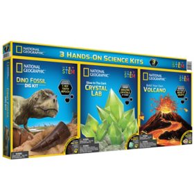 National Geographic 3-in-1 Science Kit Combo Pack – Build a Volcano, Grow a Glow-in-the-Dark Crystal, and Dig-Up a T. rex Tooth Replica – Fantastic STEM Activities for Kids!