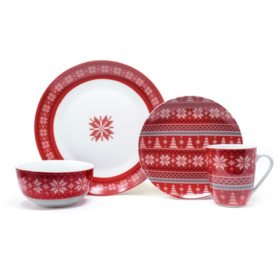 Holiday Sweater 16-Piece Porcelain Dinnerware Set
