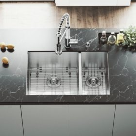 """VIGO 29"""" Undermount Stainless Steel Kitchen Sink, Two Grids and Two Strainers"""