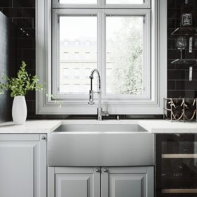 "VIGO 30"" Camden Stainless Steel Farmhouse Kitchen Sink, With Grid And Strainer"