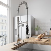 VIGO Chrome Pull-Down Spray Kitchen Faucet with Deck Plate