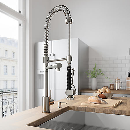 VIGO Zurich Pull-Down Spray Kitchen Faucet With Soap Dispenser (Stainless Steel)