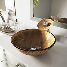 VIGO Amber Sunset Glass Vessel Bathroom Sink