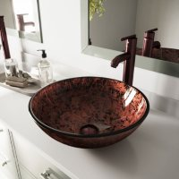 VIGO Mahogany Moon Glass Vessel Bathroom Sink