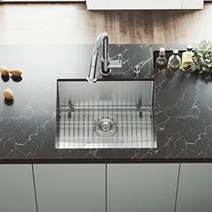 """VIGO 23"""" Undermount Stainless Steel Kitchen Sink, Grid and Strainer"""