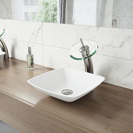 VIGO Waterfall Bathroom Vessel Faucet (Brushed Nickel)
