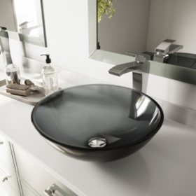 VIGO Sheer Black Glass Vessel Bathroom Sink