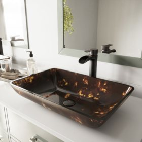 VIGO Rectangular Brown and Gold Fusion Glass Vessel Bathroom Sink