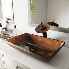 VIGO Rectangular Russet Glass Vessel Bathroom Sink