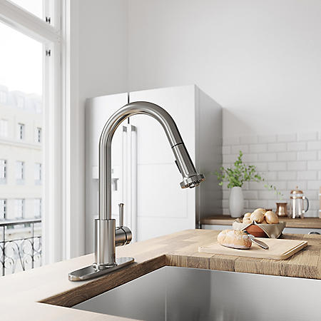 VIGO Harrison Stainless Steel Pull-Down Spray Kitchen Faucet with Deck Plate