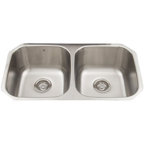 VIGO 32-inch Undermount Stainless Steel 18 Gauge Double Bowl Kitchen Sink with Rounded Edge