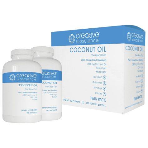 Creative Bioscience Coconut Oil Dietary Supplement (180 ct., 2 pk.)