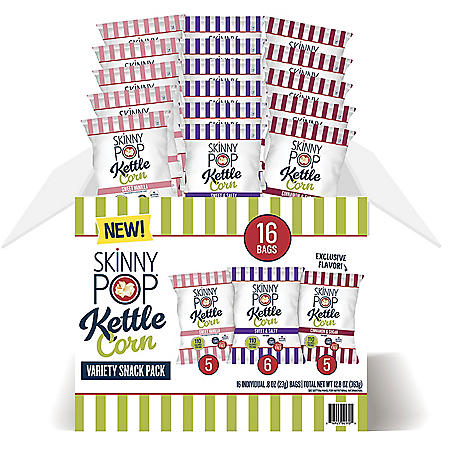 SkinnyPop Kettle Variety Pack Popcorn (0.8 oz bags, 16 ct.)