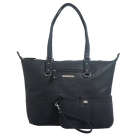 """Stone Mountain """"Plugged In"""" Pebble Leather Tote and Wristlet"""