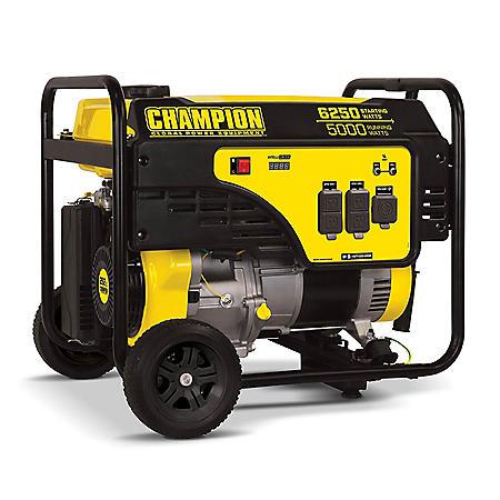 Champion Power Equipment 5000-Watt Portable Generator with Wheel Kit