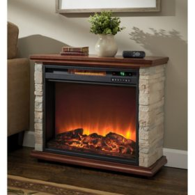 Lifesmart Stone Accent Portable Freestanding Fireplace Heater with Remote Control