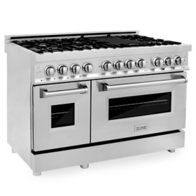 """ZLINE 48"""" 6.0 cu. ft. Dual Fuel Range with Gas Stove and Electric Oven in Stainless Steel (RA48)"""