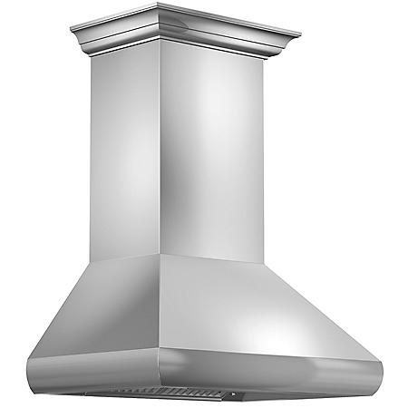 """ZLINE 30"""" 900 CFM Professional Wall Mount Range Hood in Stainless Steel with Crown Molding (587CRN-30)"""