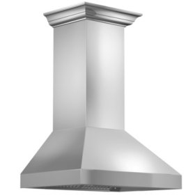 """ZLINE 36"""" 900 CFM Wall Mount Range Hood in Stainless Steel with Crown Molding (597CRN-36)"""