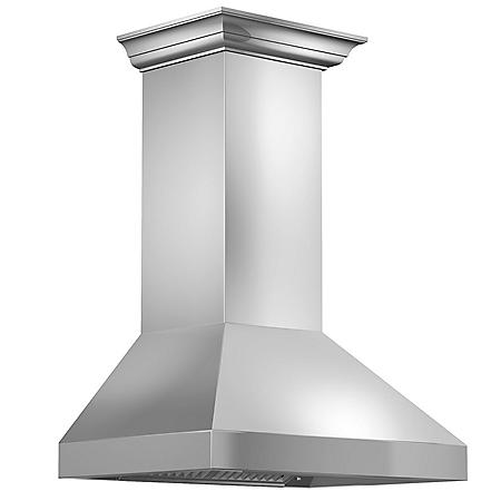 """ZLINE 42"""" 900 CFM Wall Mount Range Hood in Stainless Steel with Crown Molding (597CRN-42)"""