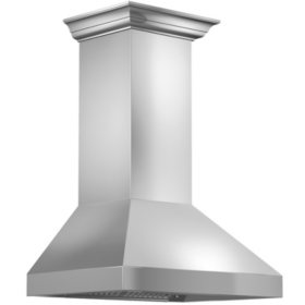 """ZLINE 48"""" 900 CFM Wall Mount Range Hood in Stainless Steel with Crown Molding (597CRN-48)"""