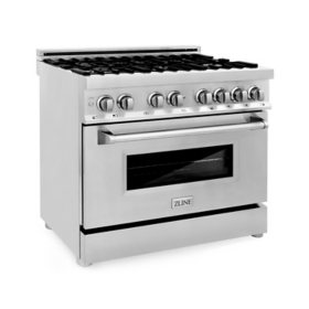 """ZLINE 36"""" 4.6 cu. ft. Dual Fuel Range with Gas Stove and Electric Oven in Stainless Steel (RA36)"""