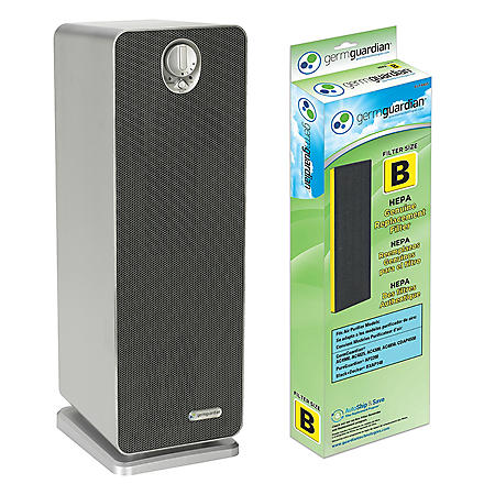 GermGuardian AC4900FL 22-Inch Air Purifier Tower with HEPA Filter; Plus Bonus Replacement HEPA Filter; UV Sanitizer and Odor Reduction